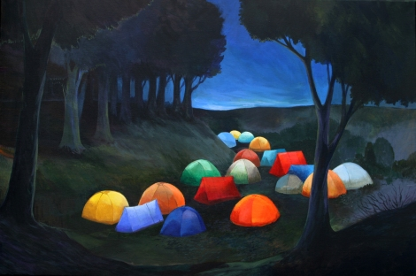 camping-in-the-woods-at-night-camping-60x90cm-2013